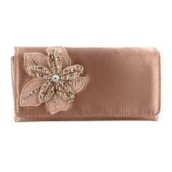 Menbur Habana Rose Satin Flower Clutch Bag