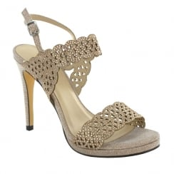 Menbur Cagliari Gold Shimmer Diamond Heeled Sandals