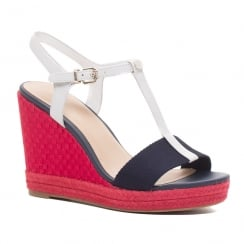 Tommy Hilfiger Elena Red Espadrilles Wedge Sandals