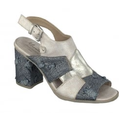 Mustang Grey Slingback Strap Block Heeled Sandals