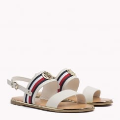 Tommy Hilfiger Ladies Whisper White Flat Leather Sandal