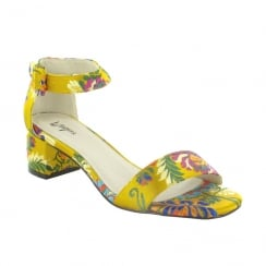 Menbur Buoro Yellow Floral Print Low Block Heel Sandals