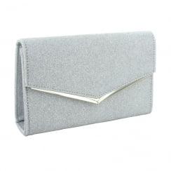 Menbur Tertius Silver Glitter Clutch Bag