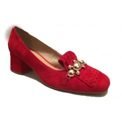 Bruno Premi Red Fringe Front Heeled Loafer