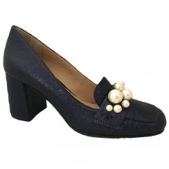 Bruno Premi Navy Metallic Heels With Pearls