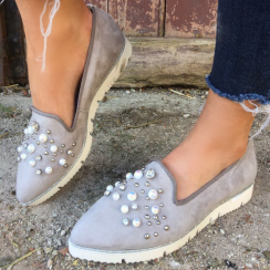 Alpe 3598 Grey Suede Slip On with Pearls