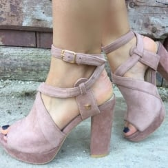 Fabs Old Pink Suedette Platform Sandals