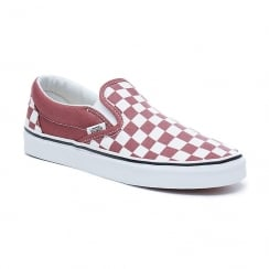 Vans Womens Burgundy Checkerboard Classic Slip-On