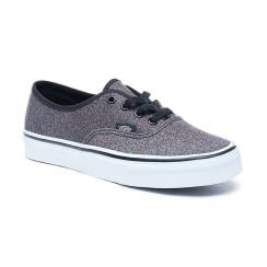 Vans Womens Grey Glitter Authentic Lace Up Shoes