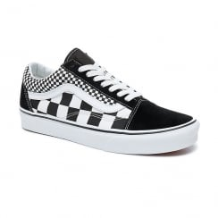 Vans Mens Black Mix Checker Old Skool Shoes
