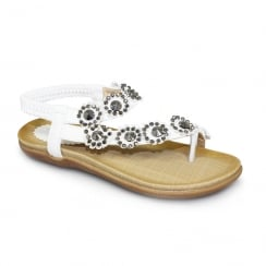 Lunar Charlotte Girls Flower Toe Loop Flat Sandals - White