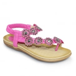 Lunar Charlotte Girls Flower Toe Loop Flat Sandals - Fuchsia