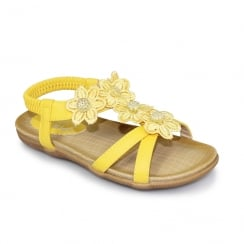 Lunar Fiji Girls Floral Flat Sandals - Yellow