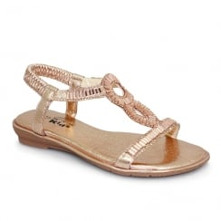 Lunar Samantha Girls Gemstone Flat Sandals - Rose Gold