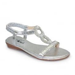 Lunar Samantha Girls Gemstone Flat Sandals - Silver