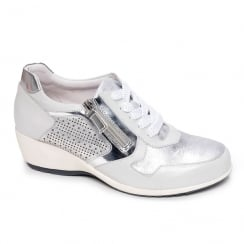 Regarde Le Ciel Womens Jerez-05 Ice Silver Wedge Lace Up Shoes