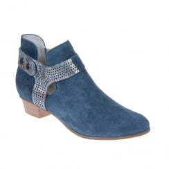 Regarde Le Ciel Womens Stefany-221 Blue Ankle Slip On Boots