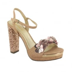 Menbur Bigolino Rose Gold Glitter Heels with 3D Flower Front