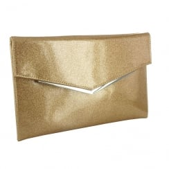 Menbur Gold Shimmer Clutch Bag