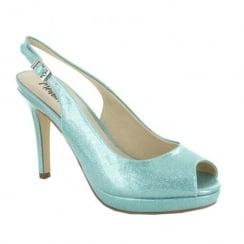 Menbur Calcini Opal Blue/Turquoise Peep Toe Sling Heeled Sandals