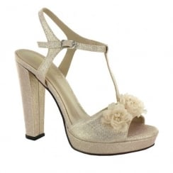 Menbur Bantine Pale Pink Shimmer T-Bar Heeled Sandals