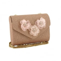 Menbur Antea Gold Shimmer Flower Clutch Bag