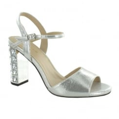 Menbur Brunate Silver Diamante Block Heel Sandals