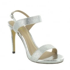 Menbur Ariccia Silver Diamante Strappy High Heeled Sandals