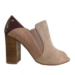 Amy Huberman Sideways Open Toe Block Heels - Rose Beige Mix