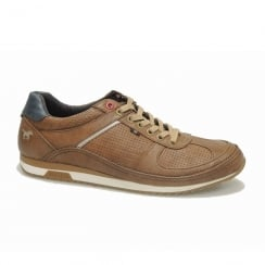 Mustang Mens Perforated Cognac Leather Sneaker Shoes