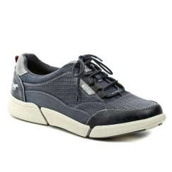 Mustang Mens Dark Blue Leather Sneaker Shoes