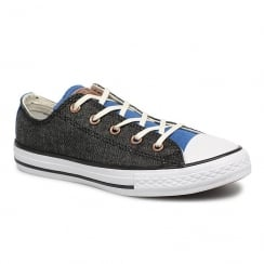 Converse Kids Chuck Taylor Two Color Chambray Trainers - Grey/Blue