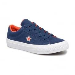 Converse Kids One Star Ox Trainers - Navy/Orange