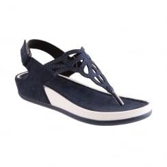 Propet Ladies Slingback Toe Post Wedge Sandal - Navy