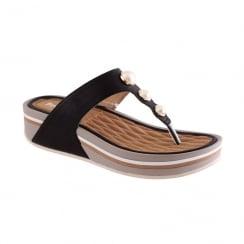 Propet Ladies Pearl Trim Toe Post Wedge Sandal - Black