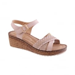 Susst Ladies Vera Pink Comfort Mid Cork Wedge Sandal