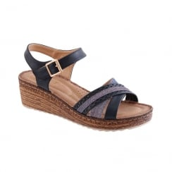 Susst Ladies Vera Navy Comfort Mid Cork Wedge Sandal