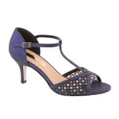 Barino Ladies Navy Mid Heel T-Bar Occasion Sandals