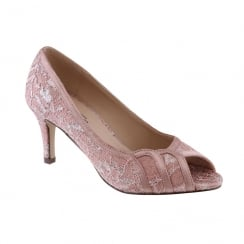 Barino Ladies Pink Mid Heel Laced Peep Toe Court Shoe