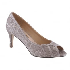 Barino Ladies Grey Mid Heel Laced Peep Toe Court Shoe