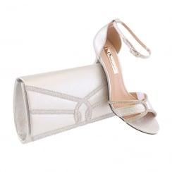 Barino Ladies Silver Diamante Clutch Bag