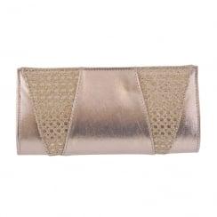 Barino Ladies Gold Occasion Mesh Glitter Clutch Bag - BG380