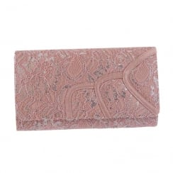 Barino Ladies Pink Occasion Laced Clutch Bag