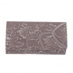 Barino Ladies Grey Occasion Laced Clutch Bag