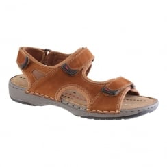 Morgan & Co Men's Tan Nubuck Leather Velcro Straps Sandals