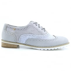 Escape Ladies Arish Charcoal Silver Lace Up Brogues