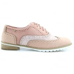 Escape Ladies Arish Nude Rose Lace Up Brogues