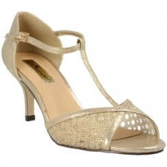 Barino Ladies Gold Mid Heel T-Bar Occasion Sandals