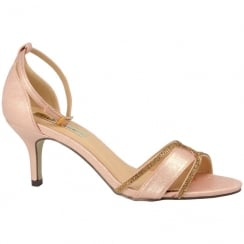 Barino Ladies Rose Mid Heel Ankle Strap Diamante Shoe