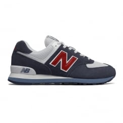 New Balance Mens 574 Core Plus Suede Navy/Red Trainers